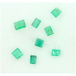 LOOSE EMERALDS: Eight (8) Step Cut Emeralds; 3.99mm x 3.05mm to 5.25mm x 3.98mm = 2.46cttw; visible