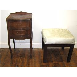 "Furniture (1): French style night stand, veneer is missing on top. (poor condition) 27.5"" x 15"" x 14"