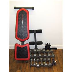 Furniture (1): Weider Pro 230 Weight bench and  hand barbell weights- (2-25#; 2-20#; 2-15#; 2-10#; 2