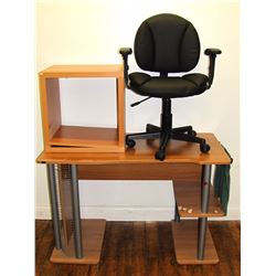 Furniture (1): Computer desk with small glass shelf 30 x 48 x 23.5  and small swivel desk/task chair