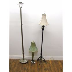 "Furniture (1): Brushed silver tone torchier lamp 72.75"" high, dented base, switch broken. Furniture"