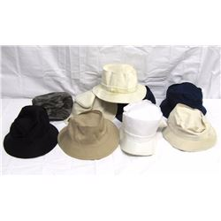 Clothing (9): wide brim man's sun hats + 1 camo ball cap