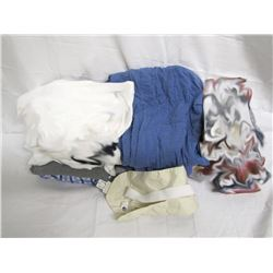 Clothing (7): 3 rain slickers in packages, 3 pairs pajama pants, 1 top, travel wallet