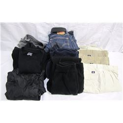 Clothing (17): 2 hanging garment bags, 2 over the door hooks, jeans size 33/30 and belt used, Polo k