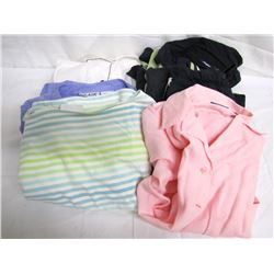 Clothing (48): 15 ladies tops/blouses (medium), 14 pairs jeans/slacks (medium/8), track suit, pant s