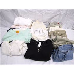 Clothing (24):hanging garment bag, 3 ladies hoodies, 5 ladies tops/blouse/shirts, ladies turtleneck,