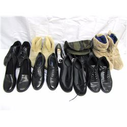 Clothing (24): 20 pairs ladies shoes and sandals (used), 2 pairs ladies slippers, 2 shoe racks. Clot