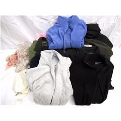 Clothing (28): 10+1/2 pair gloves in basket – used, Headband, Pink jacket, Black winter coat, Suede-