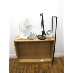 Furniture (2): small Holmes clip-on fan,  Duracraft oscillating fan, desk lamp (worn condition).Furn