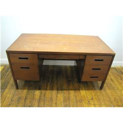 "Furniture (1): Walnut kneehole desk with drawers a flanking center drawer. 29.5"" H x 60"" x 30"".  (to"