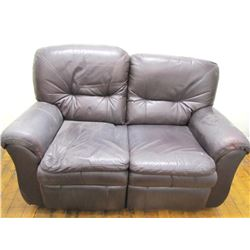 "Furniture (1): Black reclining leather loveseat – 37"" x 63.5"" x 33"" (worn/faded)"