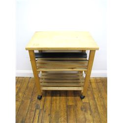 Furniture (1): Rolling kitchen cart – wood with butcher block top, two slat shelves – 30.5 x 26 x 17