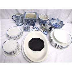 Misc. Personal Property (26): 18 pcs. Cordon Bleu France stoneware dinnerware with blue rim includin