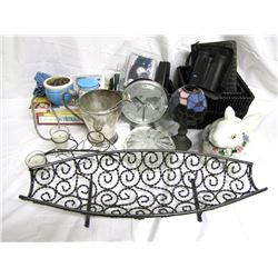 Misc. Personal Property (12): Glass candy dish, Flower pot, Pair Thanksgiving Indian fig
