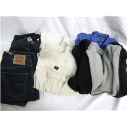 Misc. Personal Property (23): 2 Black Levi's jeans, size 34/30 and 36/30, 3 small blankets, robe-wra