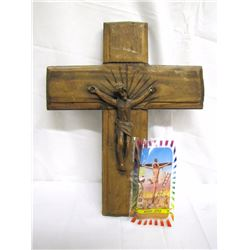 "Misc. Personal Property (2) Hand carved pine cross/crucifix 15"" x 12.5"" and a devotional votive cand"
