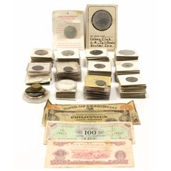 TOKENS & COINS: [120] Assorted U.S. and foreign tokens and coins; FOREIGN CURRENCY: [1] 1944 Philipp