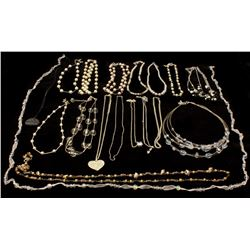 COSTUME: Eight (8) white plated & St. Steel assorted necklaces w/ various synthetic stones, molded p