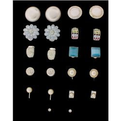 COSTUME: Eleven (11) pair lady's white plated assorted earrings; all with rhinestones or faux pearls