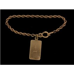 "FOB & CHAIN: Men's 14ky antique rope link chain w/ fob; 3.1mm chain, 6.5"" long; rectangular fob; spl"