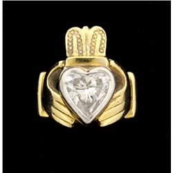 14kyg Claddagh ring with one (1) heart cut diamond, approx. 8.76mm x 9.10mm x 5.70mm =est. 3.10ct,