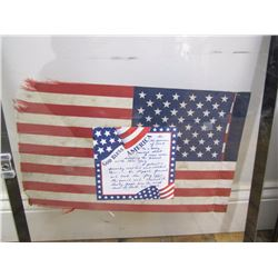 Misc. Personal Property: Framed small American flag with a story about its acquisition