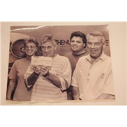 """8X10 black 7 white picture of 3 males and unknown. ** Personal Asset Formerly Belonging to James """"Wh"""