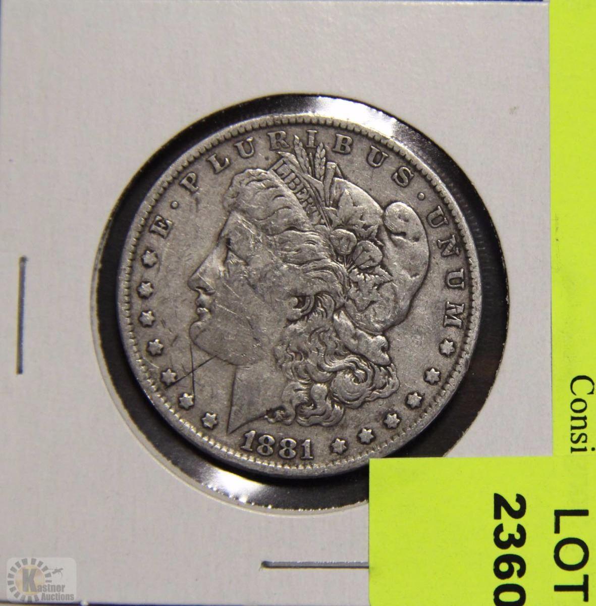 Y) MORGAN SILVER DOLLAR 1881 (NO MINT MARK)