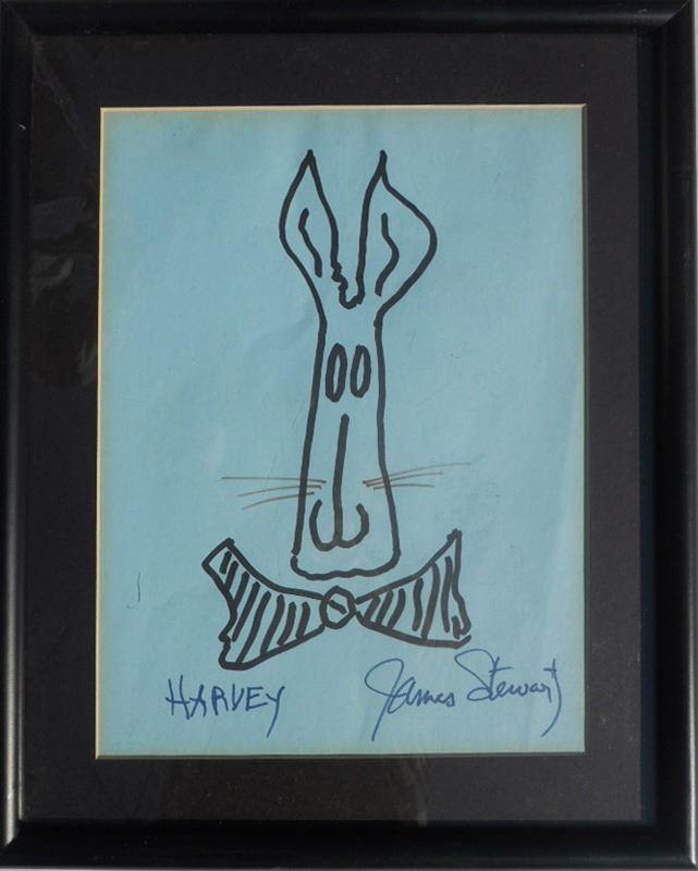 Jimmy Stewart, Harvey, Marker on Blue Paper