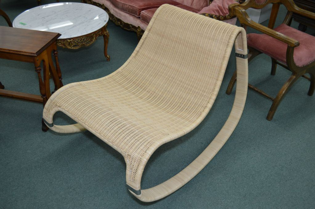 Surprising Mid Century Stylized Wicker Rocking Chair Gmtry Best Dining Table And Chair Ideas Images Gmtryco