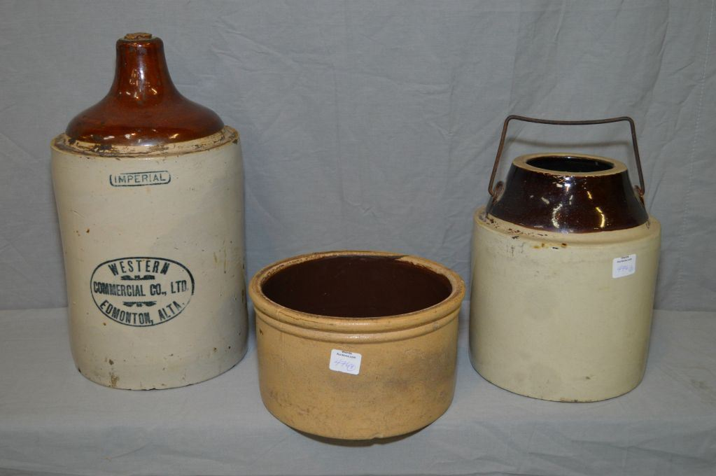 Selection Of Stoneware Including Stoneware Jug Pickle Crock And