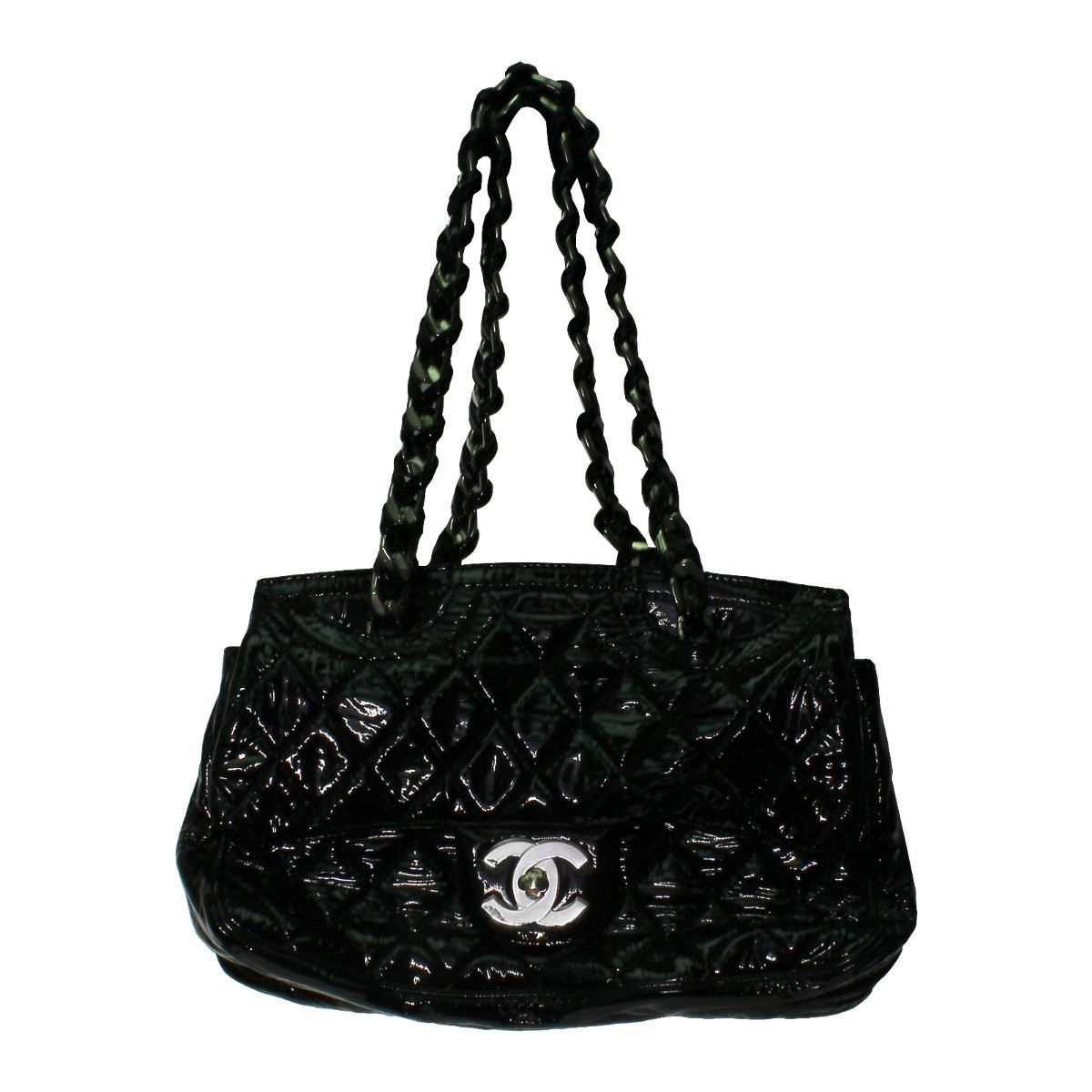bcf8c700cdae16 Image 1 : Chanel Puffy Black Patent Leather Flap Bag - #405 ...
