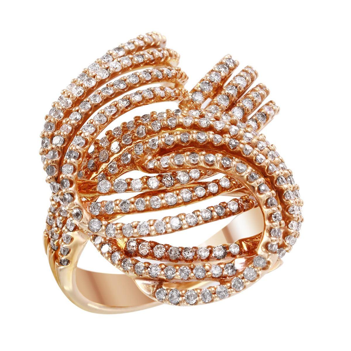 NEW 14KT Rose Gold Diamond Knot Ring - #1995