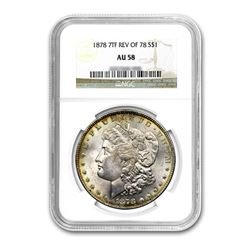 1878 Reverse $1 Morgan Silver Dollar 7 Tail Feather - NGC AU58
