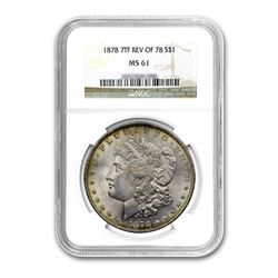1878 Reverse $1 Morgan Silver Dollar 7 Tail Feather - NGC MS61