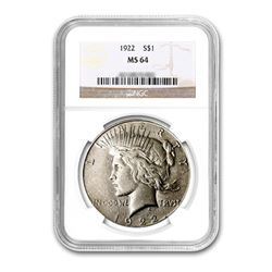 1922 $1 Peace Silver Dollar - NGC MS64