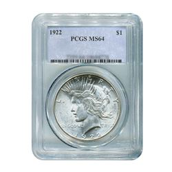 1922 $1 Peace Silver Dollar - PCGS MS64