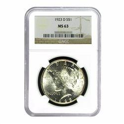 1923-D $1 Peace Silver Dollar - NGC MS63