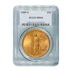 1909-S $20 Saint Gaudens PCGS MS64