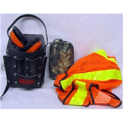 BOX LOT SAFTEY GEAR AND WORK POUCHES