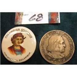 """1893 Columbian Souvenir Pin-back depicting """"Christopher Columbus"""" & 1893 Columbian Exposition Silver"""