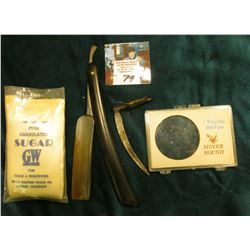 "Metal Scythe like tool; ""B. J. Eyre & Co. Germany"" Straight razor (broken handle); plastic case for"