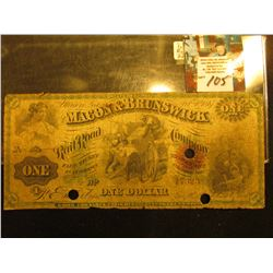 "Feb. 1st, 1867 ""Macon & Brunswick Railroad Company"" One Dollar. Broken Banknote. Hole cancelled."