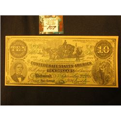 W.S. Moore, Paris, Mo. Advertising on a facsimile Confederate States of America $10 Note.