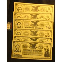 $1, $5, $10, $20, $50, & $100 Motion Picture Currency Set. (6 pcs.).