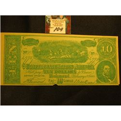 """Economy Clothing Co. Elgin, Ill."" Advertising on a facsimile Confederate States of America $10 Note"