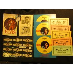 "Complete Set of 24 ""Royal Flush Elvis Presley"" Cigar Bands; 1977 Elvis Presley Post Card; Set of Elv"