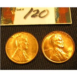 Pair of 1960 P Small Date Lincoln Cents. Gem BU.