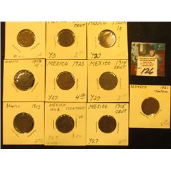 Mexico One Centavo Collection: 1903m, 04m, 05m, 06mo, 11mo, 13mo, 14mo, 15mo, 21mo & 23mo. Grades up