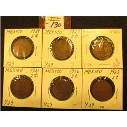 Mexico Two Centavo Collection: 1906mo, 21mo, 26mo, 27mo, 28mo, & 39mo. Grades up to VF.